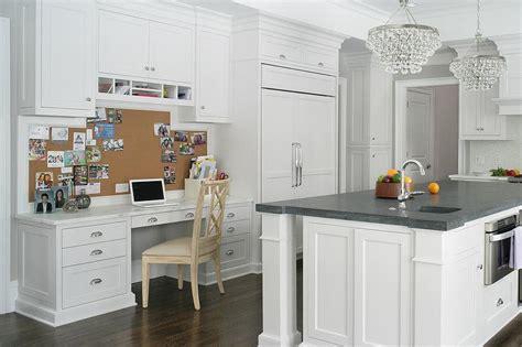 Kitchen Desk Backsplash Ideas by Kitchen With Built In Desk And Wood Hexagon Floor Tiles