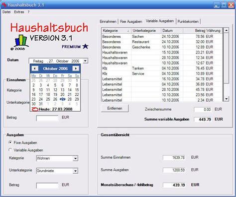 Haushaltsbuch  Freeware Download