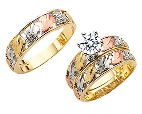 14k yellow gold trio cubic zirconia his her bridal set