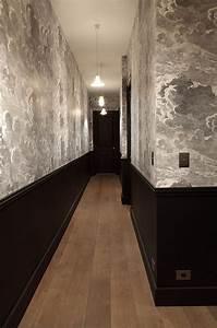 papier peint nuages de cole and son et soubassement noir With idee couleur couloir entree 5 decoration couloir 25 idees geniales 224 decouvrir