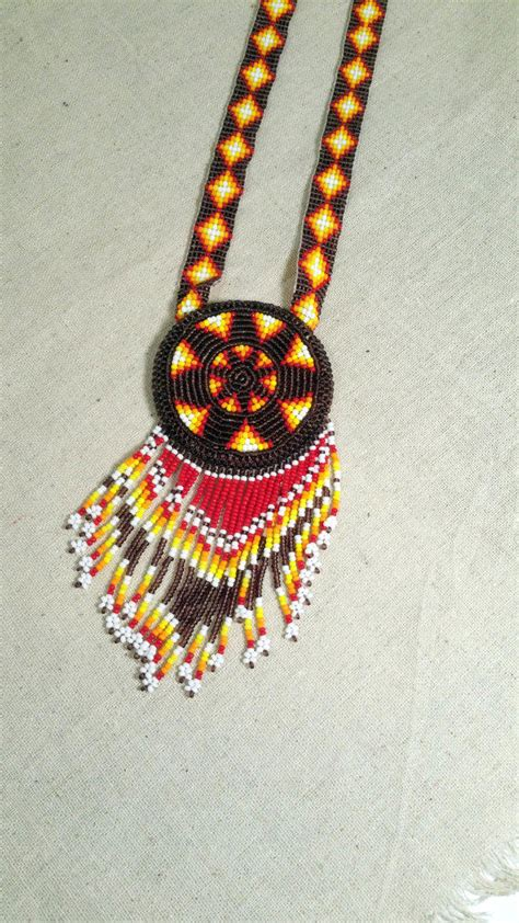 beaded star necklace native american  brushcreekcottage