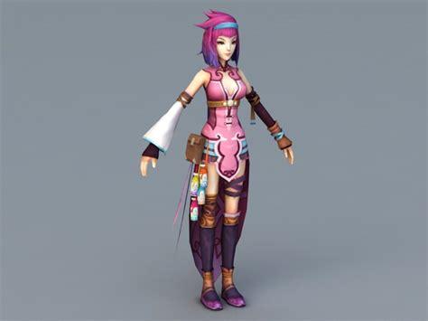 beautiful warrior anime girl  model autodesk fbx files