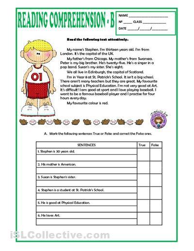 reading comprehension worksheets elementary mreichert kids worksheets