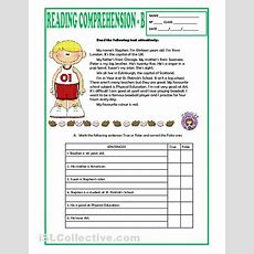 Reading Comprehension Worksheets Elementary  Mreichert Kids Worksheets