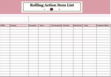 rolling action item list templates ms office