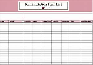 15 free rolling action item list templates ms office With action item register template