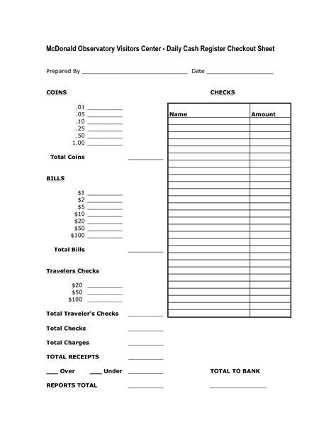 register balance sheet cash count sheet template