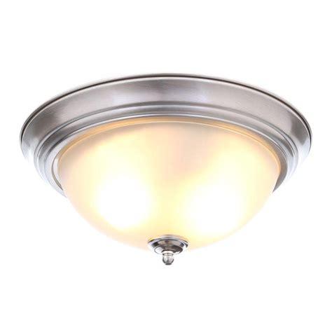 patriot lighting home depot commercial electric 1 light brushed nickel flushmount 2