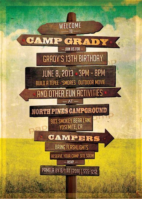 camping birthday invitation rustic sign posts wedding