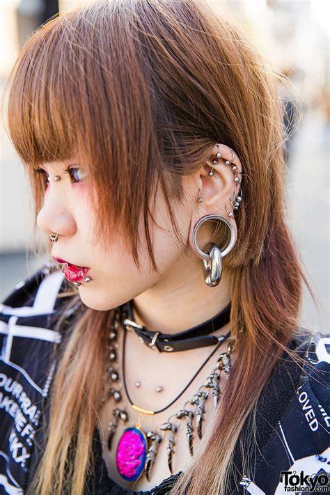 dark harajuku styles  body piercings barokue brain