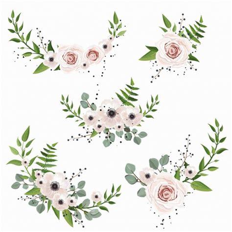 Conjunto de ramos de acuarela con flores hojas y plantas