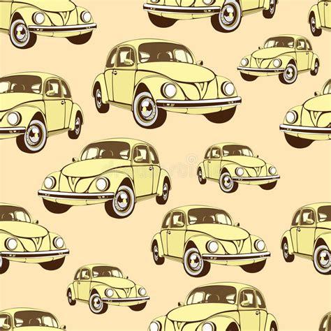 Vintage Car Seamless Pattern, Retro Cartoon Background