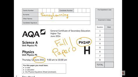 gcse aqa physics june  phhp full paper youtube