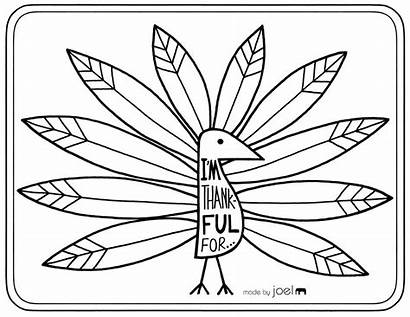 Thanksgiving Thankful Turkey Coloring Printable Placemat Pages