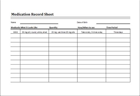 editable printable excel medication record sheet word