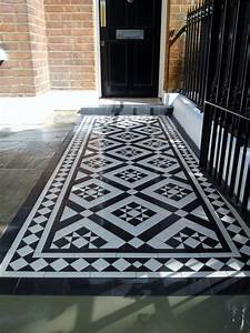 black and white victorian mosaic tile path red brick ...