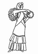 Coloring Dancer Flamenco sketch template