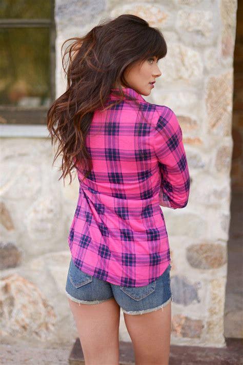 pink plaid shirt  denim shorts pictures