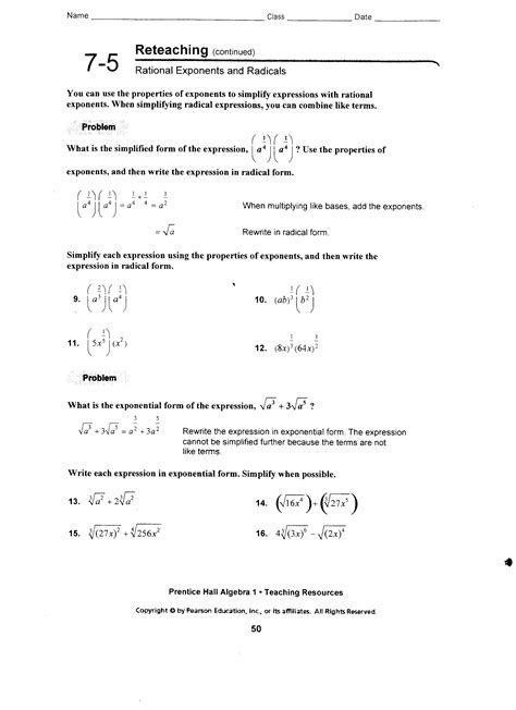 12 best images of exponents and radicals worksheet 7th