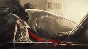 Wings, Armor, Cloak, Artwork, Staff, Angel, 1920x1080, Wallpaper