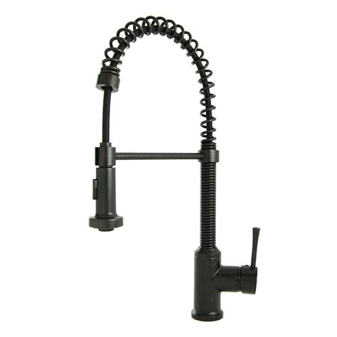 Rubbed Bronze Kitchen Faucet by Brienza Residential Single Handle Coil Pull