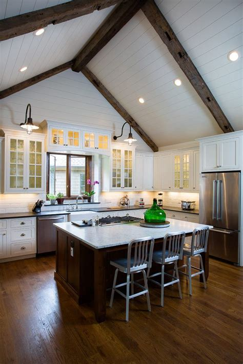 cathedral ceiling kitchen rustic  island seating high