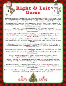 winter right and left game with buffalo checks and snowmen baby or bridal shower game party