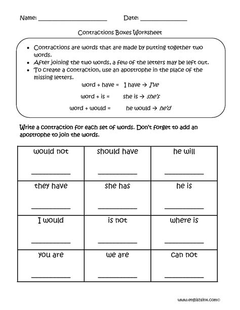 contractions worksheet  db excelcom