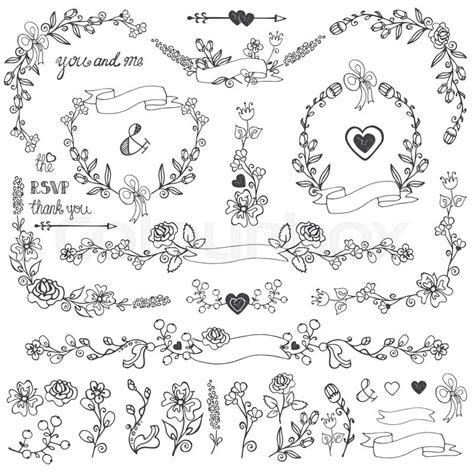 wedding doodles floral decor elements setswirling border
