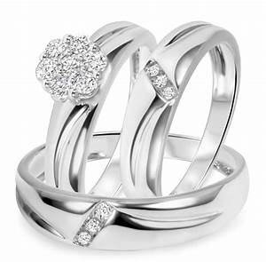 1 2 ct tw diamond trio matching wedding ring set 14k for My trio wedding rings