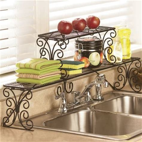 euro home over the sink organizer steel 2 tier scrolled over the sink shelf from country door 64903