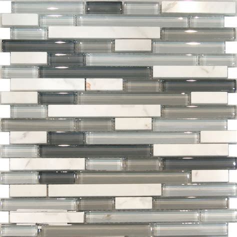 mosaic glass backsplash kitchen 10sf carrara white marble gray glass linear mosaic tile