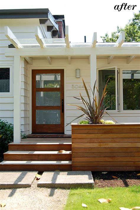 Home Design Ideas Front by Reworked Entry Way With Wood Planters New Wood Deck And