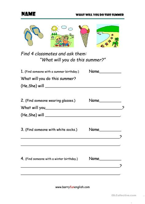 What Will You Do In Summer? Worksheet  Free Esl Printable Worksheets Made By Teachers