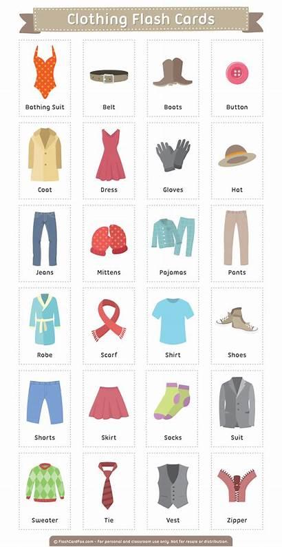 Clothing Flash Cards Flashcards Printable Clothes Flashcardfox