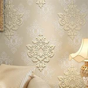 High Quality Luxury 3D Damask Wallpaper Fabric Embossed ...