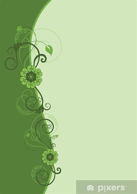 green floral border design wall mural pixers