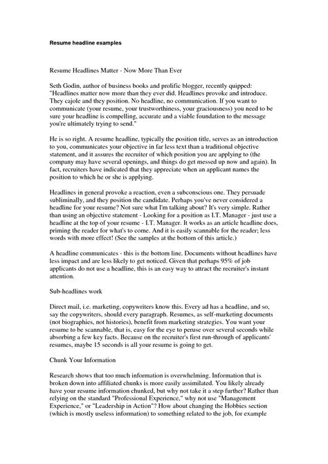 How To Write Resume Headline Exles by Doc 9271200 Resume Headlines Bizdoska