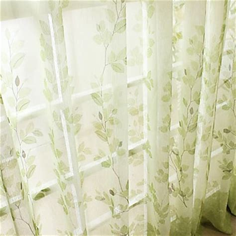 sheer leaf print curtains and green pallet