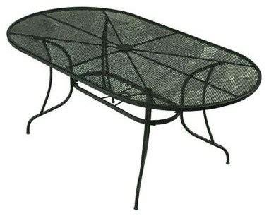 bji inc patio tables wrought iron green oval patio