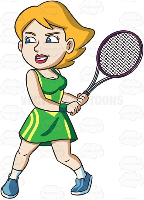 female tennis player   high level  energy cartoon clipart vector vectortoons