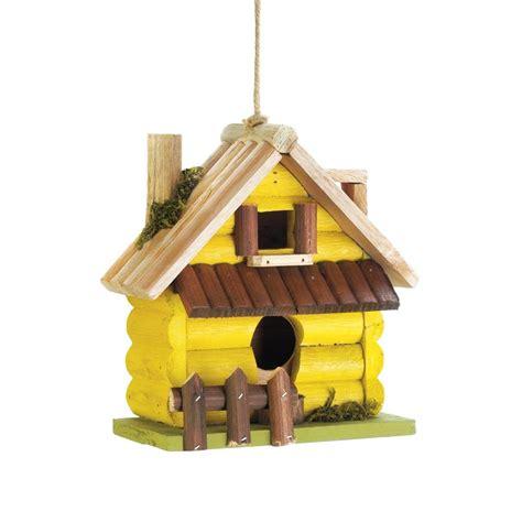 Decorative Birds - birdhouse decor yellow log home wooden hanging outdoor