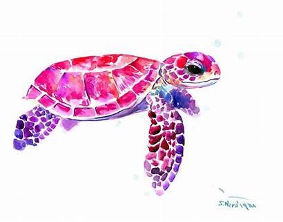 Turtle Sea Pink Purple Nersisyan Suren Painting