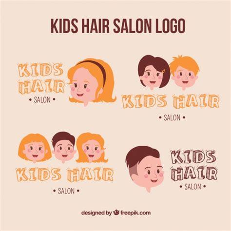 salon de coiffure pour enfants logo collection