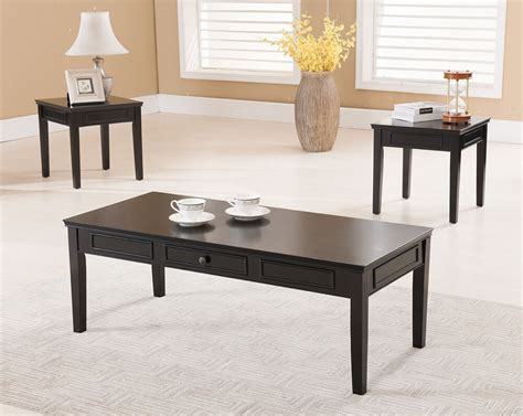 3 pc kings brand black finish wood coffee table 2 end