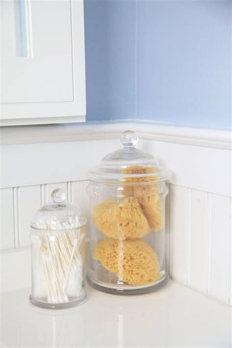 pottery barn glass bathroom accessories what s in my guest bathroom lemon stripes