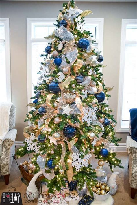 exquisite gold  navy blue christmas decorations
