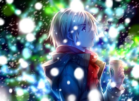 Wallpaper Anime Boy, Profile View, Red Scarf, Winter, Snow Coffee House News Paper Iced Starbucks With Syrup Tulsa Keto Drinks Price Uk Sebring Fl Octane And Peoria Az
