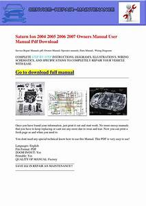 Saturn Ion 2004 2005 2006 2007 Owners Manual User Manual Pdf Download By Dernis Castan