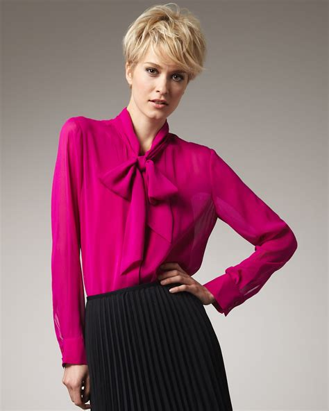 tie neck blouses dkny tie neck blouse in raspberry lyst